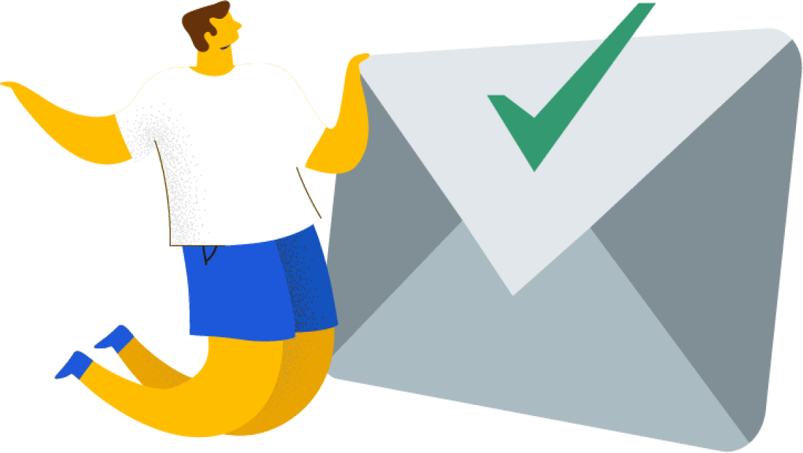 An illustration of a human beside an envelope with a green checkmark.