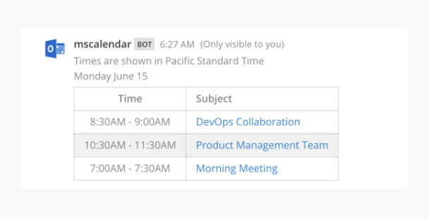 Microsoft calendar integration